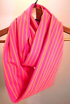 Pink and Orange Infinity Scarf by SandySeaTurtle on Etsy