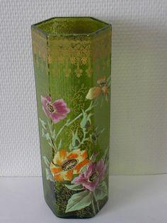 Jugendstil Frankreich um 1900 Glas Vase Grün 6-eckig 27 cm Blumen Malerei Gold