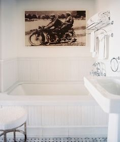 bathroom with extra large photography art