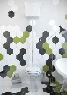 Carrelage mural hexagonal 17 5 x 20 cm d cor makara for Carrelage toilette mural