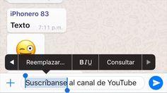 En WhatsApp ahora es más fácil agregar Negrita / Cursiva / Tachado con el nuevo menú de texto enriquecido. Solo toca el texto que quieres modificar y selecciona la opción BIU.  Nuestro canal de Youtube 👉🏾 https://www.youtube.com/channel/UCjQSAiKVyDTvpMHTy9YFC1g