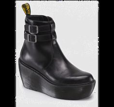 doc martens CAITLIN chunky platform wedge ankle bootie side zip two buckles boxy collection $160.00 dr martens dms