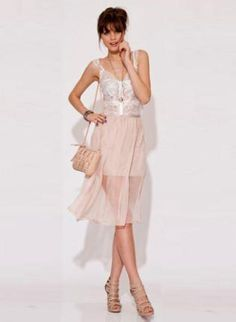 Bluejuice Angelic Sheer Skirt in Nude Beige,  Skirt, Sheer Overlay Partially Lined, Chic
