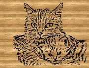Кот и котенок - чертеж для выпиливания лобзиком