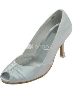 White Peep Toe Ruched Satin Bridal Shoes. See More Bridal Shoes at http://www.ourgreatshop.com/Bridal-Shoes-C919.aspx