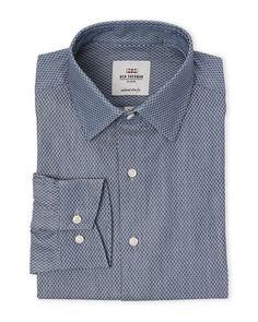 Ben Sherman Navy Medallion Tailored Slim Fit Dress Shirt