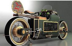 Russian Steampunk Bike --- Mikhail Smolyanov initially wanted to create a bike with racing car designs of the 1920s are fitted with aircraft engines. However, he instead makes the motor's steampunk style, stylish design combined steam engine era of the 19th century with elements of science fiction or fantasy.