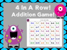 An addition game that is a lot like bingo. Students roll the dice, answer a problem in the matching row, if they answer it correctly they get to c. 2nd Grade Class, First Grade Classroom, First Grade Math, Future Classroom, Second Grade, Addition Activities, Addition Games, Addition And Subtraction, 4 In A Row