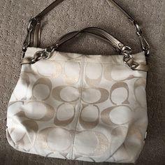 Authentic Coach handbag Previously loved off white & gold Coach handbag! Coach Bags Totes