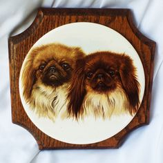 Vintage Pekingese Dog Wall Plaque Pair of Pekes