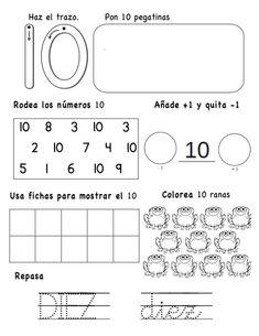 numeros-hasta-el-10-10-638 Pre K Activities, Preschool Learning Activities, Teaching Resources, Educational Activities, Preschool Themes, Math Literacy, Math Class, Kindergarten Math, Math 4 Kids