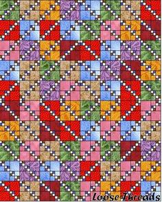 LOOSE THREADS: My Leftovers Quilt 4 Patch Quilt, Strip Quilts, Quilt Blocks, Scrappy Quilt Patterns, Scrappy Quilts, Easy Quilts, Bonnie Hunter, Quilting Projects, Quilting Designs