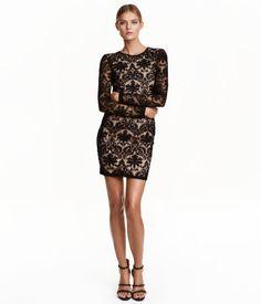 Kanten jurk | Zwart | Dames | H&M NL