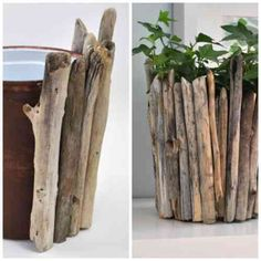création en bois flotté et cache pot de fleur
