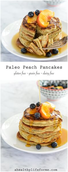 Paleo Peach Pancakes are the best little paleo pancake you ever did make.  Using fresh pureed peaches along with almond meal, farm fresh eggs keep these clean, healthy and packed with a bit of protein.  The perfect way to start your day.- A Healthy Life For Me