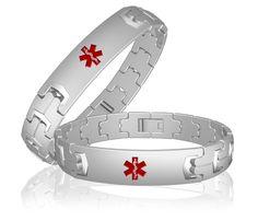 Titanium Medical id bracelet for men's-Diabetes, allergies applicable 50% off,US$35 only