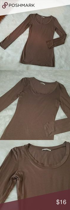 Long Sleeve Blouse Long Sleeve tee/blouse  MOCHA-M WINE-M,L Some pictures of each color are with flash and some without Tops Tees - Long Sleeve
