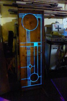 Custom door, cedar with epoxy/glow in the dark pigment