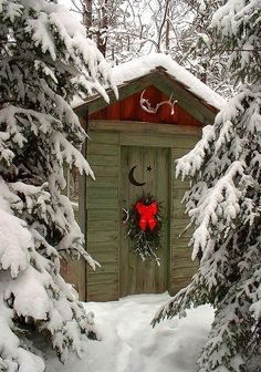 Outback Christmas cabin -- I'd love to decorate my chicken coop/potting shed. Look how cute those antlers are