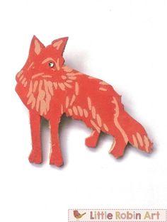 Handmade Genuine Leather Fox Brooch Broach Pin by LittleRobinArt, £4.75