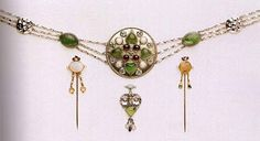 Girdle, pins and pendant, 1906 silver and semi-precious stones, May Morris