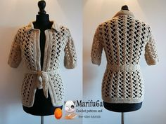 how to crochet vest bolero jacket with roses chaleco free pattern tutorial by marifu6a - YouTube