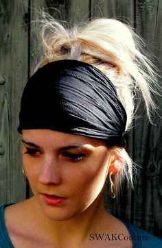 Black Textured Wide Yoga Headband, Stretchy Textured Cotton HeadBand Wide Hairband Workout HeadBand or Choose Your color on Etsy, $12.87 CAD