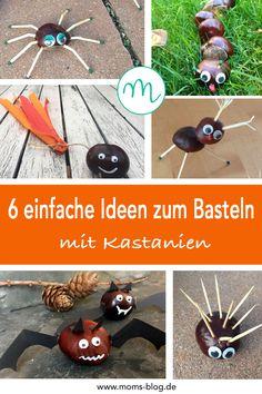 Einfache Kastanien-Bastelideen für Kinder findet ihr auf moms-blog.de #kastanientiere #bastelnmitkindern #kastanienideen #chestnutcrafts Mom Blogs, Popcorn, Dessert, Halloween, Fitness, Germany, Games For Children, Spider, Submission