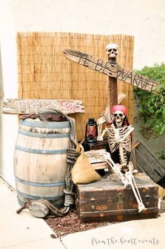 See more ideas about halloween decorations halloween party and pirate halloween. Batten down the hatches real quick because you ll be wanting to see a glimpse of these bone chilling pirate halloween decorations. These themed props can really create an . Pirate Halloween Decorations, Pirate Halloween Party, Decoration Pirate, Pirate Birthday, Outdoor Halloween, Halloween Party Decor, Halloween Themes, 60th Birthday, Birthday Crafts