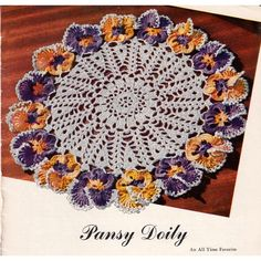 Free pansy doily crochet pattern - simple, step-by-step instructions included to make this vintage crochet doily. Crochet Books, Crochet Home, Thread Crochet, Crochet Gifts, Knit Crochet, Crochet Carpet, Flower Crochet, Crochet Granny, Free Crochet Doily Patterns