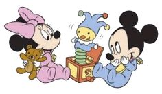 Baby Mickey & Minnie playing with a Jack-in-the-Box