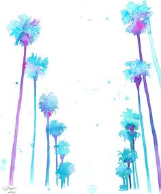 California Dreaming, print from original watercolor palm tree scene of California by Jessica Durrant