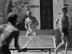 Robert Redford, Paul Newman, George Roy Hill playing table tennis (1969).