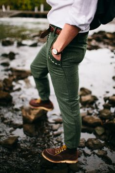 olive green ankle length trousers and weatherproof boots and watch fall 2014