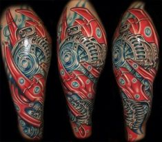 tattoo biomechanik farbig