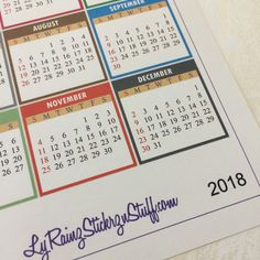 2018 Monthly Stickers for Passion Planner, Erin Condren, Filofax, Bujo, Happy Planner, Kikkik....etc by LyRainzStickrzNStuff on Etsy