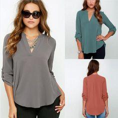 2016 neue Mode-stil Blusas Sexy Frauen Mit V-ausschnitt Chiffon Bluse Casual Sleeve Solide Shirts Tops Größe S-5XL Feminina Camisas