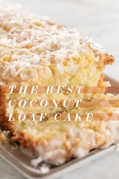 This coconut loaf cake is full of buttery, coconut flavor! It's easy to make and has a 3 ingredient homemade coconut glaze poured over the top. The perfect recipe for spring! Coconut Recipes, Baking Recipes, Cake Recipes, Dessert Recipes, Bread Recipes, Coconut Desserts, Lemon Recipes, Coconut Loaf Cake, Recipe For Coconut Cake