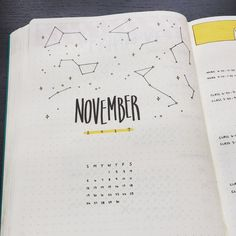 Bullet journal monthly cover page,  November cover page,  astronomy drawings.  @bridletjournal