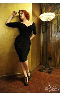 high glamour figure shaping off the shoulder gathered wiggle dress in black   Pinup Girl Clothing