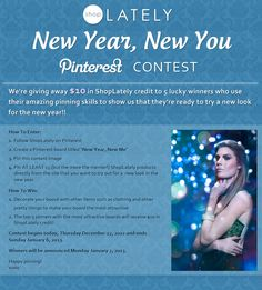 ShopLately's New Year, New You Pinterest contest! Enter to win $ 10 SL credit! http://www.facebook.com/ShopLately/app_208527462518885 New Year New Me, Happy New Year Everyone, New You, Enter To Win, Giveaways, Apps, App