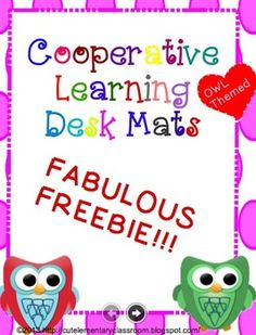 """This wonderful Freebie is for 7 """"Kagan"""" style cooperative learning group mats.  The mats are bright pink and green with an Owl theme.  These mats are an organizational tool for cooperative learning groups.  I began using cooperative learning in my classroom last year and my students loved it!"""