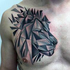 Geometic Lion Chest Mens Tattoo Ideas