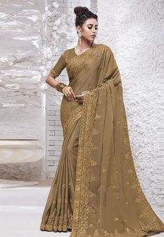 Buy Light Brown Chiffon Saree With Blouse 204560 with blouse online at lowest price from vast collection of sarees at Indianclothstore.com.