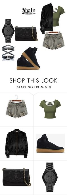 """""""she in"""" by offically-tri1l on Polyvore featuring WithChic, LE3NO, Givenchy, NIKE, Chanel, Michael Kors and Eva Fehren"""