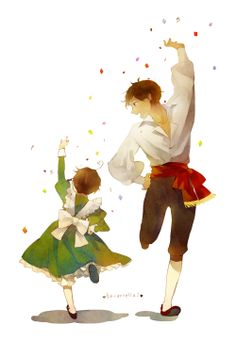 Antonio and little Lovino dancing the tarantella - so sweet! - Art by Sousou