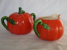 Vintage Maruhon Ware Tomato Shaped Creamer and Sugar Bowl