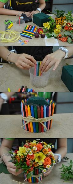 Букет с карандашами на 1 сентября - 1 сентября
