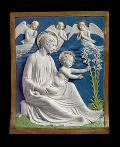 Attributed to Luca della Robbia, Virgin and Child with lilies (Firenze, ca. 1460-70, Museum of Fine Arts, Boston).