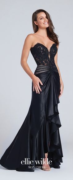 Prom Dresses 2017 - Ellie Wilde for Mon Cheri - strapless black prom dress with lace bodice and cascading ruffle skirt - Style No. EW117105